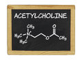Chemical formula of acetylcholine on a chalkboard blackboard Stock Photography