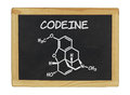 Chemical formula of codeine on a blackboard Royalty Free Stock Photography