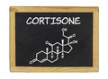 Chemical formula of cortisone on a chalkboard blackboard Royalty Free Stock Images