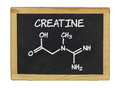 Chemical formula of creatine on a chalkboard blackboard Royalty Free Stock Image