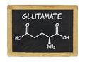 Chemical formula of glutamate on a chalkboard blackboard Stock Photo