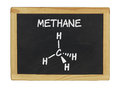 Chemical formula of methane on a blackboard Royalty Free Stock Image