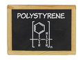 Chemical formula of polystyrene on a blackboard Stock Photo
