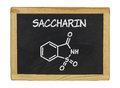 Chemical formula of saccharin on a blackboard Stock Photo