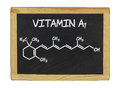 Chemical formula of vitamin a on blackboard Royalty Free Stock Photo