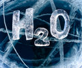 Chemical formula of water h o made from ice on winter frozen lake baikal Stock Photos