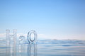 Chemical formula of water h o made from ice on winter frozen lake baikal Royalty Free Stock Image