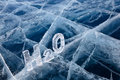 Chemical formula of water h o made from ice on winter frozen lake baikal Stock Images
