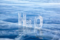 Chemical formula of water h o made from ice on winter frozen lake baikal Royalty Free Stock Photos