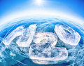 Chemical formula of water h o made from ice on winter frozen lake baikal Royalty Free Stock Photography