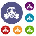 Chemical gas mask icons set