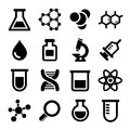 Chemical icons set on white background Stock Photography