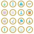 Chemical lab icons circle