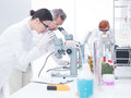 Chemical laboratory analysis side view of two scientists in a chemistry lab analyzing under microscope on a lab table around lab Royalty Free Stock Image