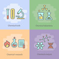 Chemical laboratory concept with instrumentation glassware and experiments reactions vector burners research illustration Royalty Free Stock Photos