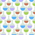 Chemical laboratory flask glassware tube scientific equipment chemistry seamless pattern vector illustration. Royalty Free Stock Photo