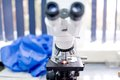 Chemical laboratory microscope, tools and gadgets. Scientific and health care equipment