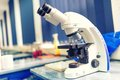 Chemical laboratory microscope and tools. Scientific and healthcare research Royalty Free Stock Photo