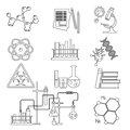 Chemical laboratory science and technology thin line icons set . Workplace tools Royalty Free Stock Photo