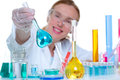 Chemical laboratory scientist woman with glass flask Royalty Free Stock Image