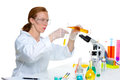 Chemical laboratory scientist woman with test tube Stock Photos
