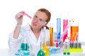 Chemical laboratory scientist woman with test tube Royalty Free Stock Image
