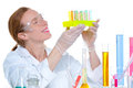 Chemical laboratory scientist woman with test tube Stock Image