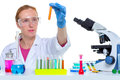 Chemical laboratory scientist woman with test tube Royalty Free Stock Photo