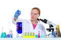 Chemical laboratory scientist woman with test tube Royalty Free Stock Photography