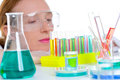 Chemical laboratory scientist woman with test tubes Stock Photography