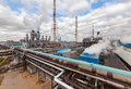 Chemical plant for production of ammonia and nitrogen fertilization on day time. Royalty Free Stock Photo