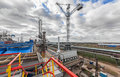 Chemical plant for production of ammonia and nitrogen fertilization on day time. Giant crane at the plant Royalty Free Stock Photo