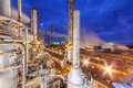 Chemical plant for production of ammonia and nitrogen fertilization on night time. Royalty Free Stock Photo