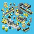 Chemical production conveyor workshop robotics line flat 3d