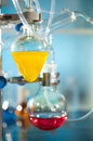 Chemical reaction in progress in organic chemistry lab Stock Photography