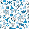 Chemical seamless pattern, chemical laboratory supplies seamless pattern, flask and test tube and beaker Royalty Free Stock Photo