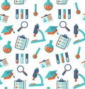 Chemical Seamless Pattern with Different Laboratory Objects Royalty Free Stock Photo