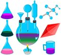 Chemical set. Molecule structure. Equipment. Royalty Free Stock Photos