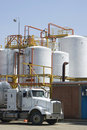 Chemical Storage Tank And Tanker Truck Royalty Free Stock Photos