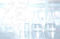 Chemical structure with flask and vial background in science lab Royalty Free Stock Photo