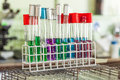 Chemical substance in test tube colorful laboratory Royalty Free Stock Photos