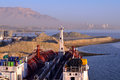 Chemical tanker in port for loading operation Royalty Free Stock Photos