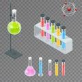 Chemical test tube pictogram icons set. Erlenmeyer flask, distilling flask, volumetric flask, test tube. Chemical lab