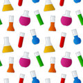 Chemical test tubes seamless pattern a with different with colorful liquid on white background eps file available Royalty Free Stock Image