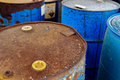 Chemical waste dump with a lot of barrels photo Royalty Free Stock Images