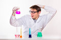 Chemist made a discovery in the lab studio shoot Royalty Free Stock Photography