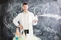Chemist makes an experiment.