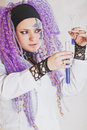 Chemist woman with test tubes Royalty Free Stock Image