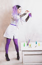 Chemist woman with test tubes Stock Photography