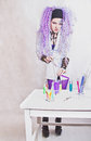 Chemist woman with test tubes Royalty Free Stock Photography